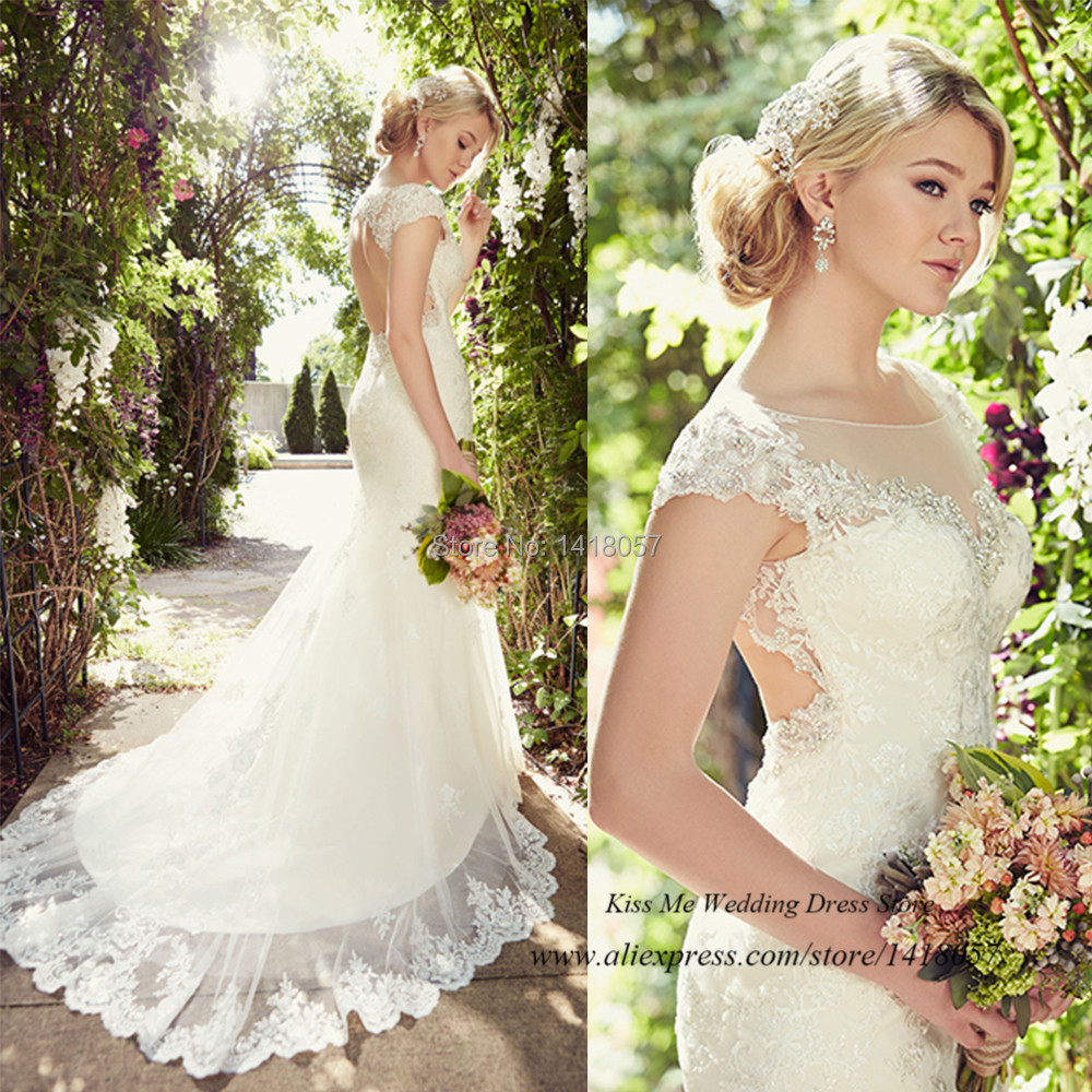 2015 Country Western Wedding Dresses Lace Open Back Bridal