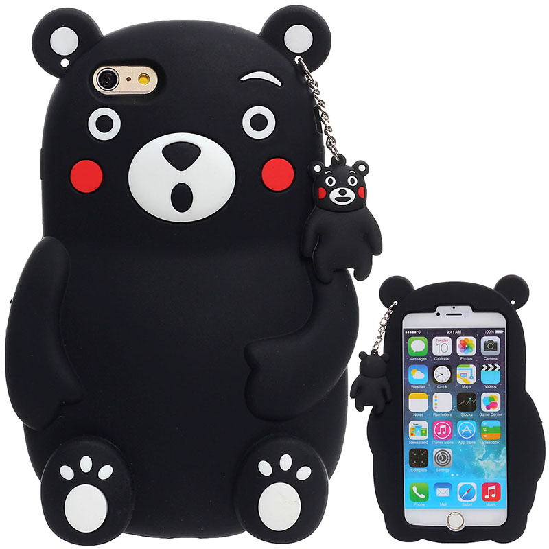 2016 Original Case cover skin For iphone 5 5s SE 6 plus 6s plus silicone case back shell Black bear protector cell phone(China (Mainland))