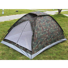Outdoor PU1000mm Rainfly Waterproof Camping Tent for 2 Person Single Layer Portable Polyester Beach Tents Camouflage(China (Mainland))
