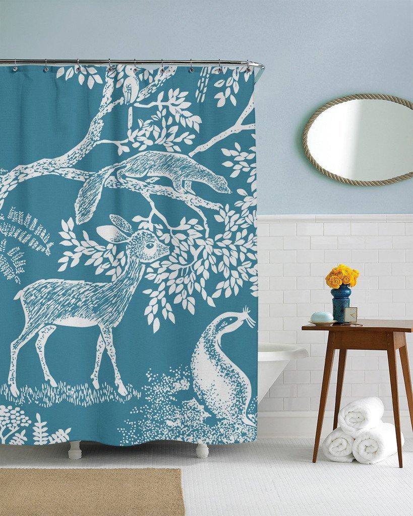 "Little Deer blue custom Waterproof Shower Curtain 60"" x 72"" Free Shipping bathroom decor(China (Mainland))"