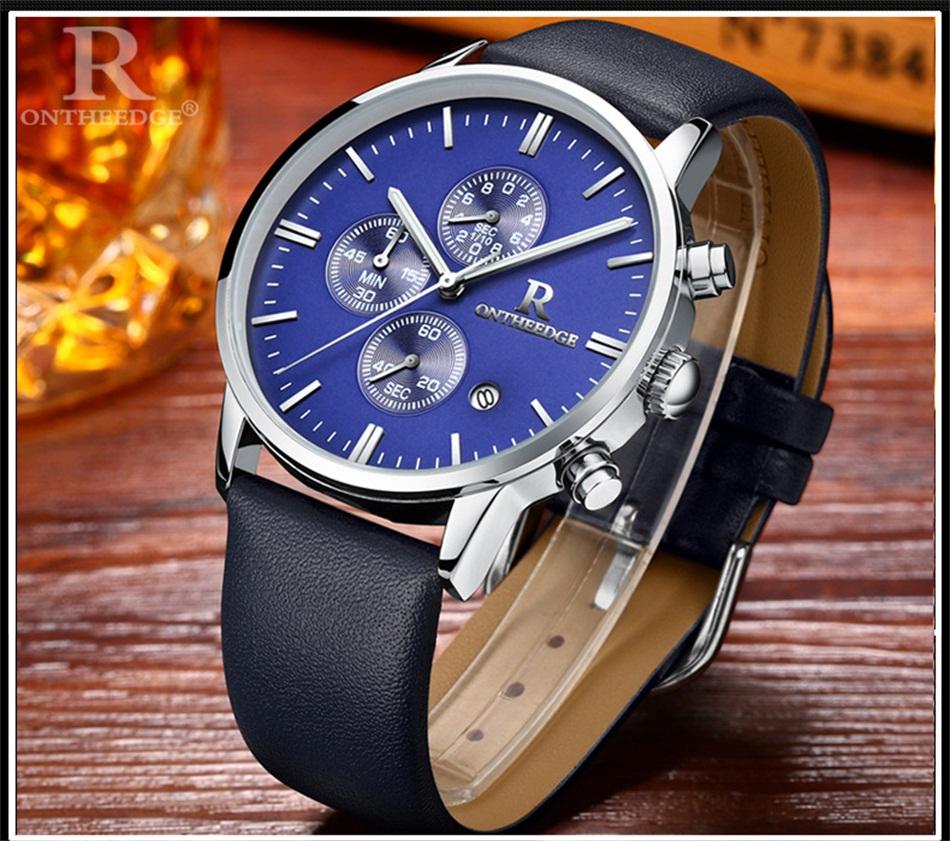 Маленькие Циферблаты Работать Fotina Лучший Бренд R Часы Мужчины Синий черный Бизнес Кварцевый Секундомер Часы Мужчины Спортивные Часы Кожа Relogio Masculino