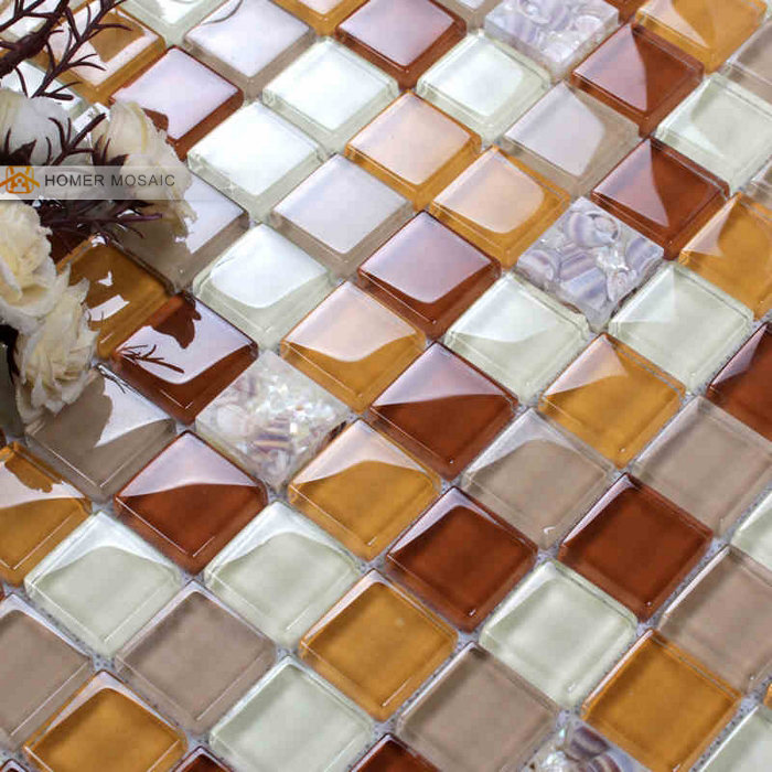 natural  shell ice crackle glass tile bathroom shower tile mosaic design and kitchen<br><br>Aliexpress