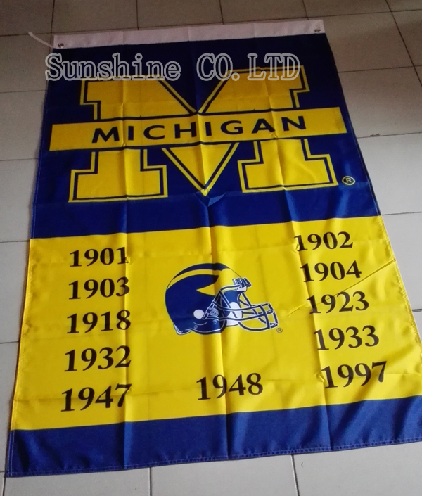 University of Michigan NCAA 11 Time Football Champions Flag hot sell goods 3X5FT 150X90CM Banner brass metal holes UMW12(China (Mainland))