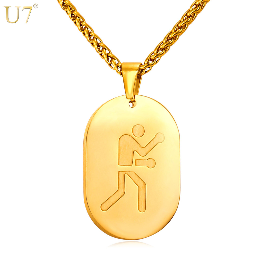 U7 New Necklace Women Lucky Jewelry Simple Strokes Of 2016 Olympic Boxing Game Sporty Gold Plated Dog Tags Necklace For Men P843(China (Mainland))