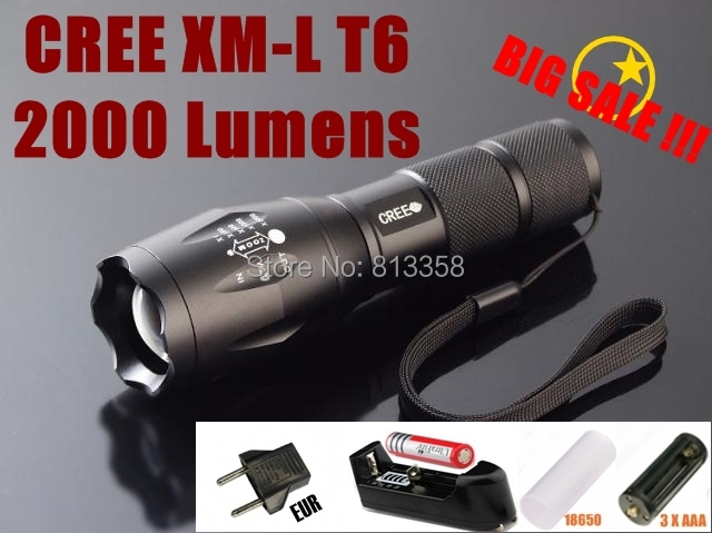 UltraFire E17 CREE XP-G R5 1200Lumens cree Torch Zoomable LED Torch Flashlight (3 * AAA / 1 * 18650)+ Battery / Charger