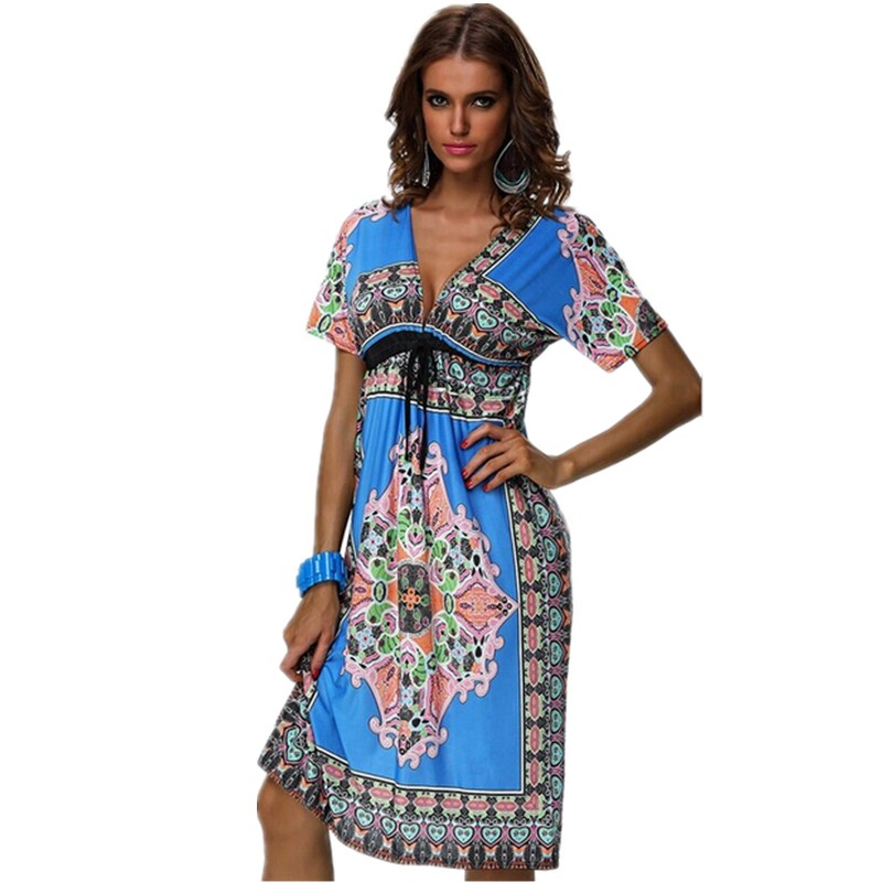 2015 Fashion Boho Retro Print Beach Dresses Design V Neck