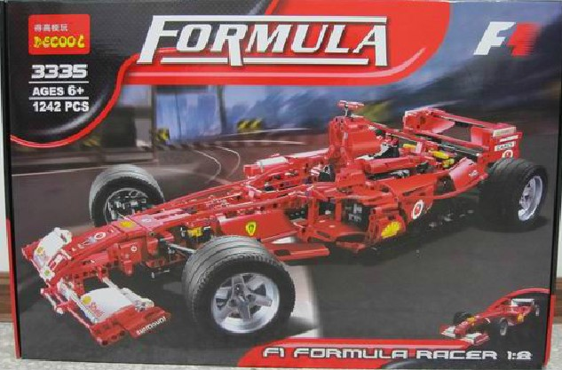 Singapore EMS free shipping 1242pcs 1:8 scale F1 Sports car-technic style building blocks toys compatible with lego  GOOD(China (Mainland))