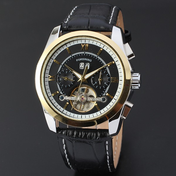 Men's Fashion Chic Mechanical Wrist Watch Date Display Black Leather Band Business Formal Dress Silver Round Case Tourbillon