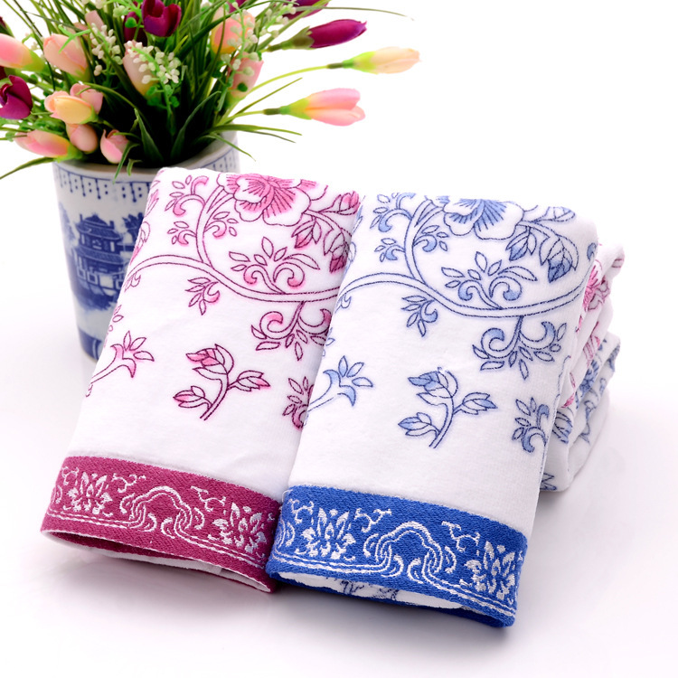2015 new arrival 34*74cm bathroom cheap Beach Towels for adult hand towels 100% cotton printed blue and white china Face Towel(China (Mainland))