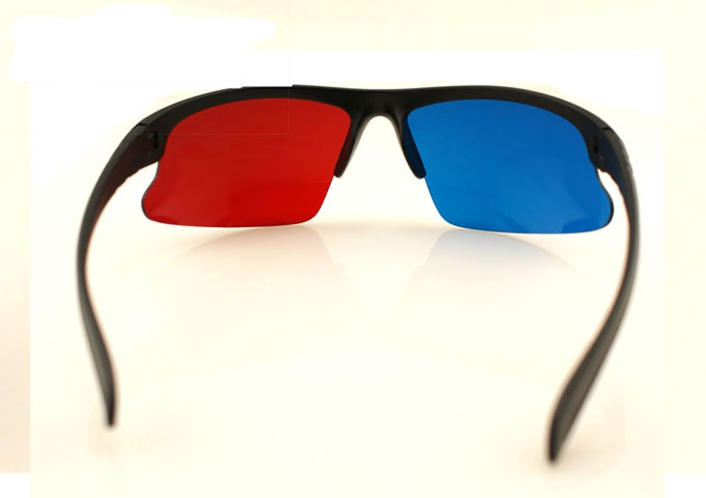 Red blue Anaglyph 3D 3-D Glasses Reusable Black Frame ,DHL,EMS free shipping(China (Mainland))