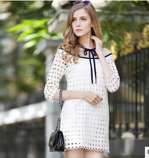 Spring&amp;Summer 2015 Womens Dresses Long Section European Stations Slim Thin Round Neck Casual Dress Stitching Plus Size DM2672Одежда и ак�е��уары<br><br><br>Aliexpress