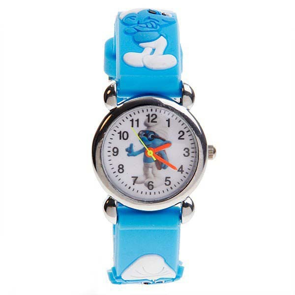 Hot Sale Silicone Bracelets Watches Blue Person Fly Elf 3D Cartoon Rubber Watches Kids Girls Boys Students Popular Items(China (Mainland))