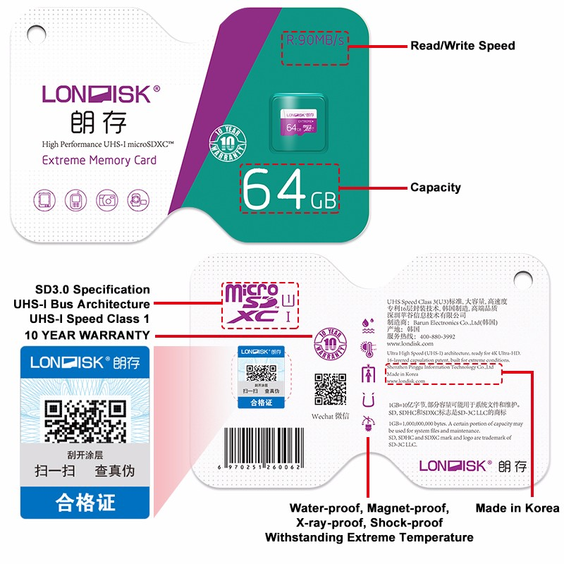 Londisk Micro SD Card 8GB 16GB 32GB 64GB Class10 UHS-1 Memory Card Flash Memory Card Microsd TF Card for Smartphone Pad Camera