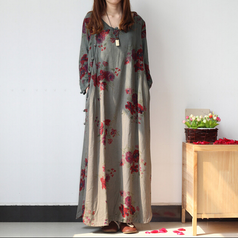 Women Dress Vestido Maxi Dress Spring Folk Style Plus Size Retro Flower Dresses Ropa Mujer Loose Cotton Linen Long Robe Chinoise(China (Mainland))