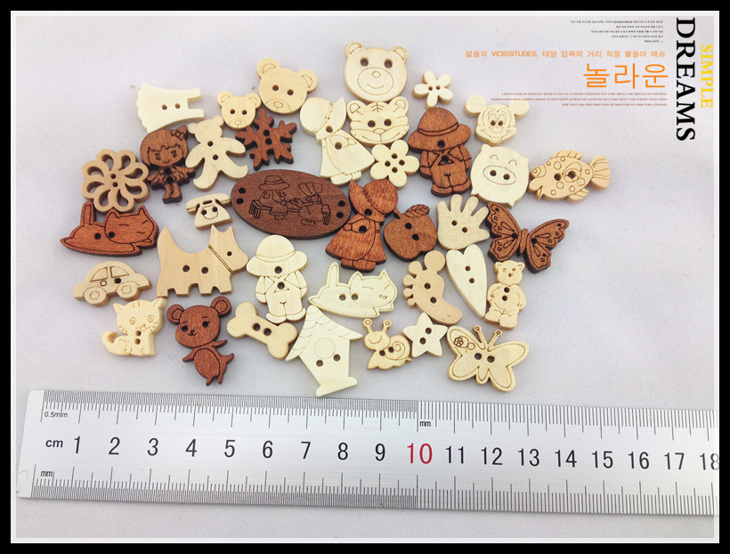 Cutedream bulk buttons natrual wooden buttons mixed for for Decorative pins for crafts
