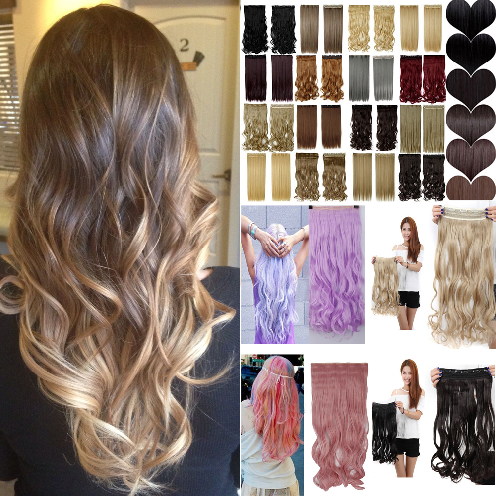 1PC 60cm 23inch Ombre Hair Extensions Straight Heat Resistance 2 Tones Hair Long Synthetic Hair Clip In Hair Extension T914