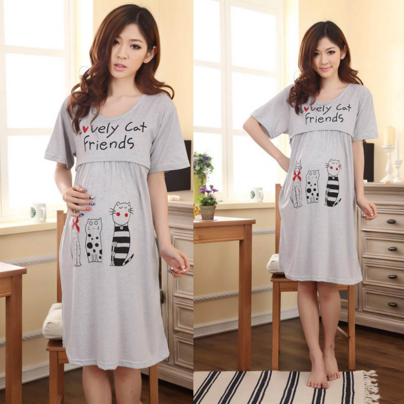 Dec2 Amazing Summer Pregnant Women Casual Short Sleeve Dress Nursing Clothes Maternity Dresses(China (Mainland))