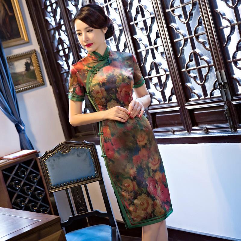 ด้านคุณภาพสตรีผ้าไหมCheongsamจีนแฟชั่นสไตล์การแต่งกายที่สวยงามบางสั้นพิมพ์QipaoขนาดSml XL XXL XXXL F090928 ถูก