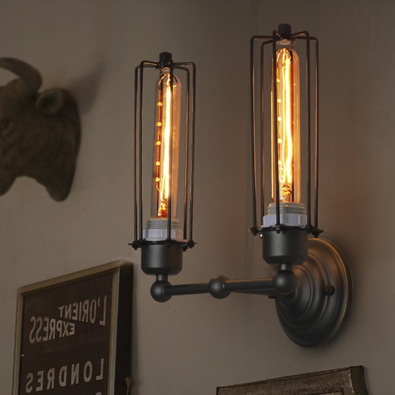 Bar rack lampada da parete villaggio americano retrò arte del ferro industriale abajur de parede ...