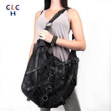 Black Rivet Bag Women 2016 PU Leather Belt Bolso Para Hombre Hombro Girl Bags Malette Homme Sac A Main Femme Special Bag Big