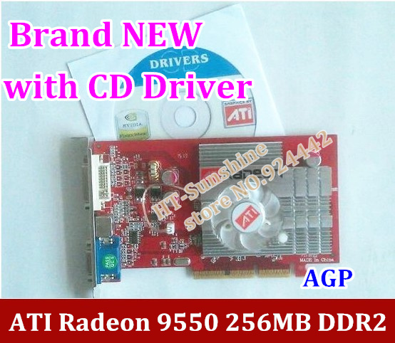 NEW original ATI Radeon 9550 256MB DDR2 AGP 4x 8x video Card FORM factory low end AGP video graphic card with CD Driver(China (Mainland))