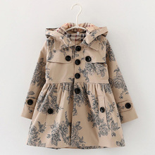 Designer children's Girls clothes autumn/winter girls trench coat jacket  Hat floral hoodies children  jacket coat(China (Mainland))