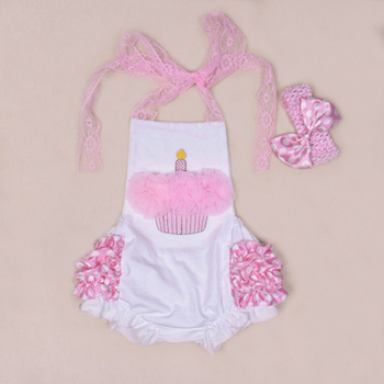 Infant Birthday Gift Cake Outfits Bodysuit One Piece 2015 Cotton Pink Lace Tie Ruffles Jumpsuit Pants Baby Girl Party Clothing