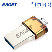 Eaget V80 Otg Usb Flash Drive 16GB Usb 3.0 & Micro Usb Double Plug Smartphone Pen Drive For Android 4.0 Above Pass H2test