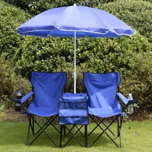 Portable Folding Picnic Double Chair W/Umbrella Table Cooler Beach Camping Chair Free Shipping OP2647(China (Mainland))