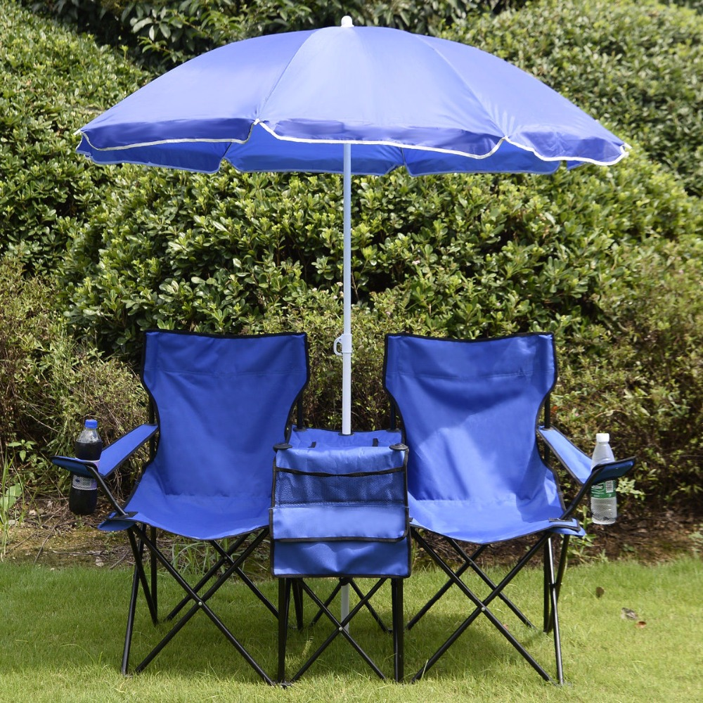 Portable Folding Picnic Double Chair W/Umbrella Table Cooler Beach Camping Chair OP2647(China (Mainland))