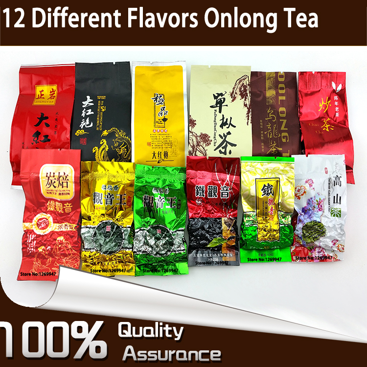 12 Different Flavors Oolong Teas include Milk Oolong, Tieguanyin, Ginseng Oolong, Dahongpao, Dancong, Fried Tea, 93g in Total(China (Mainland))