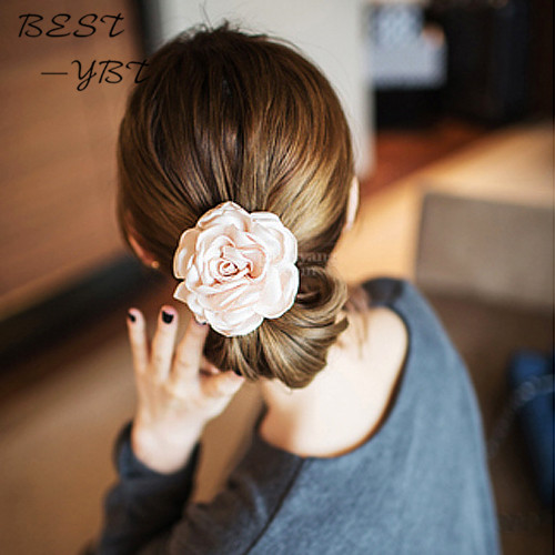 Super Big size Fabric flower hair ties scrunchies hairband hair bands rope ring tie scrunchy gum for hair accessories(China (Mainland))