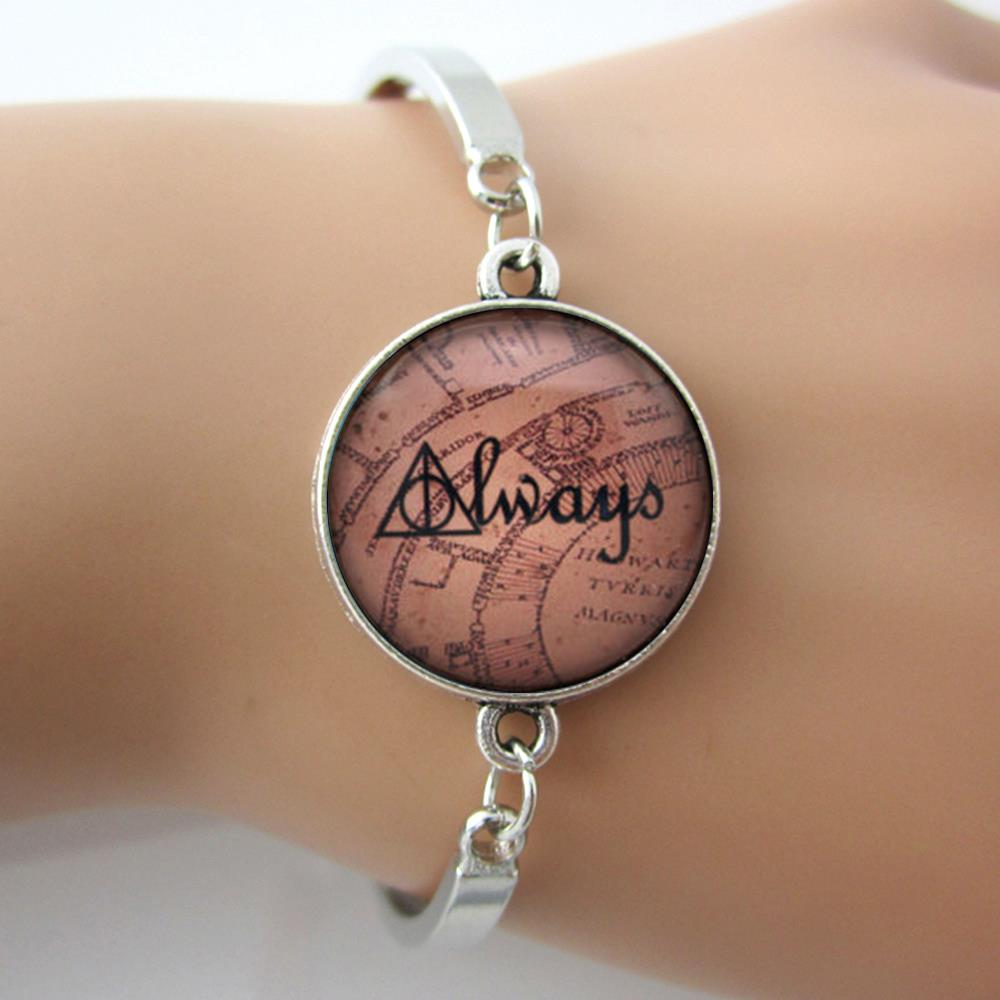 Deathly Hallows Bracelet,'Always' on Marauders Map, Case For Harry pot Bracelets Bangles,Glass Dome Picture Photo Jewelry(China (Mainland))