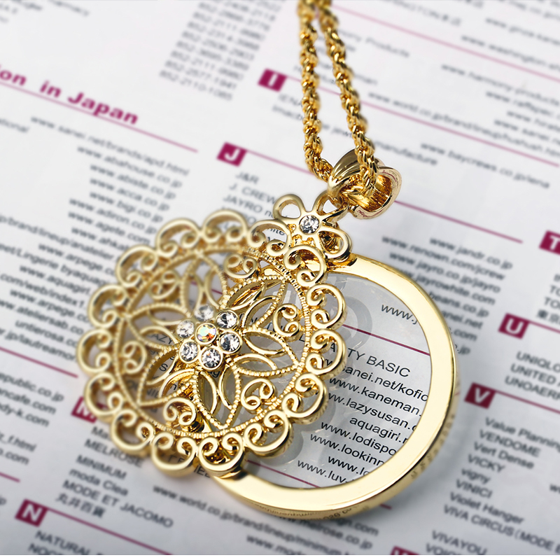 2017 New look Flower Reading Glass Crystals Magnifying Glass Pendant Fashion Magnifier White Gold Plated Trendy Gift Necklace(Hong Kong)