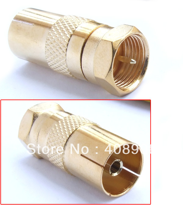 F Male TO PAL Female PLUG TV coax cable Connectors + free shipping(China (Mainland))