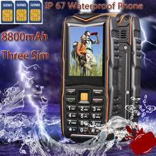 8800mAH Three Sim Cards CDMA Original M18 GSM Senior old man phone IP67 Rugged Waterproof phone Russian Keyboard S6 xiaocai x6