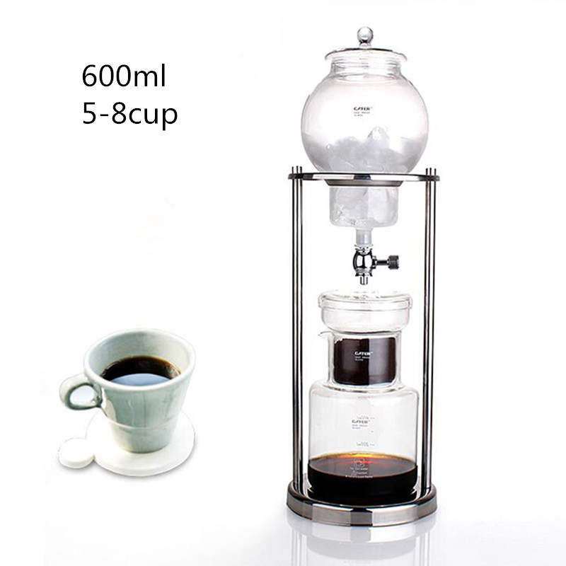 600ML large capacity stainless steel frame glass ice drip pot / high quality drip coffee maker ice drip coffee filters tool(China (Mainland))