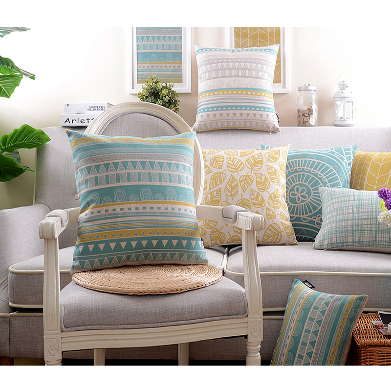 18 Yellow And White Wave Stripe Pillow Covers Sofa Decor