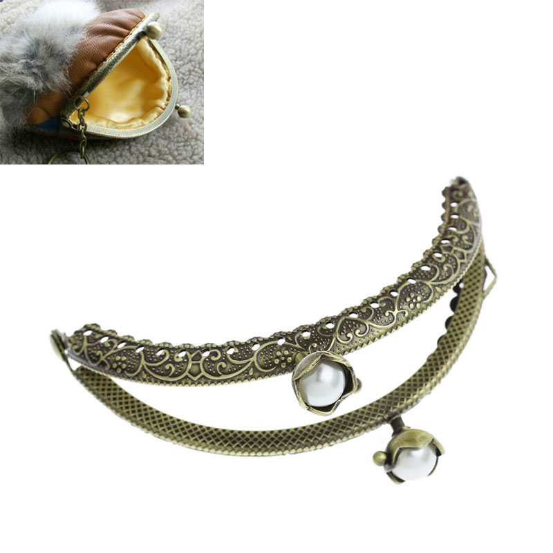 Bag Accessories Arc Bag Purse Frame Clasp Coin White AB Resin Ball Bronze Tone 3PCs Free Shipping(China (Mainland))