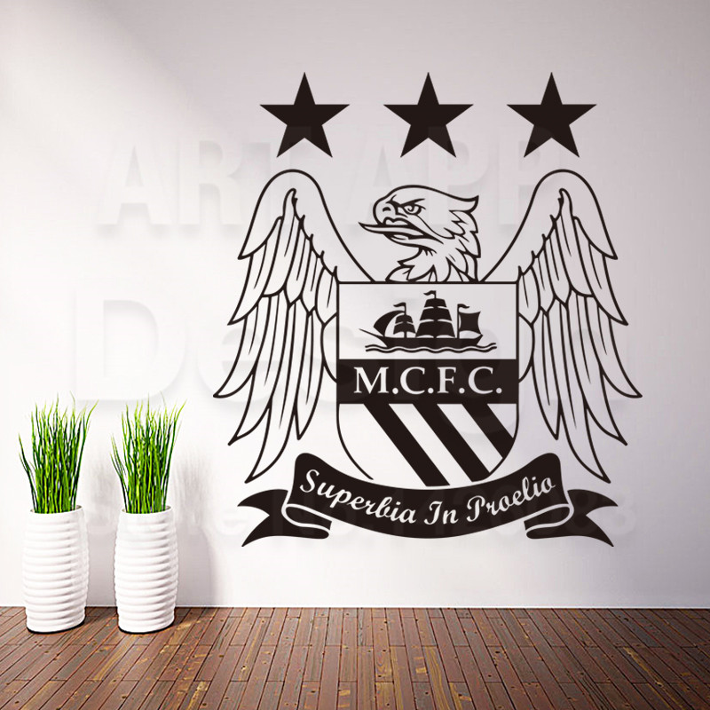Art cheap vinyl home decoration new design football logo wall sticker removable house decor PVC England soccer decals in rooms(China (Mainland))