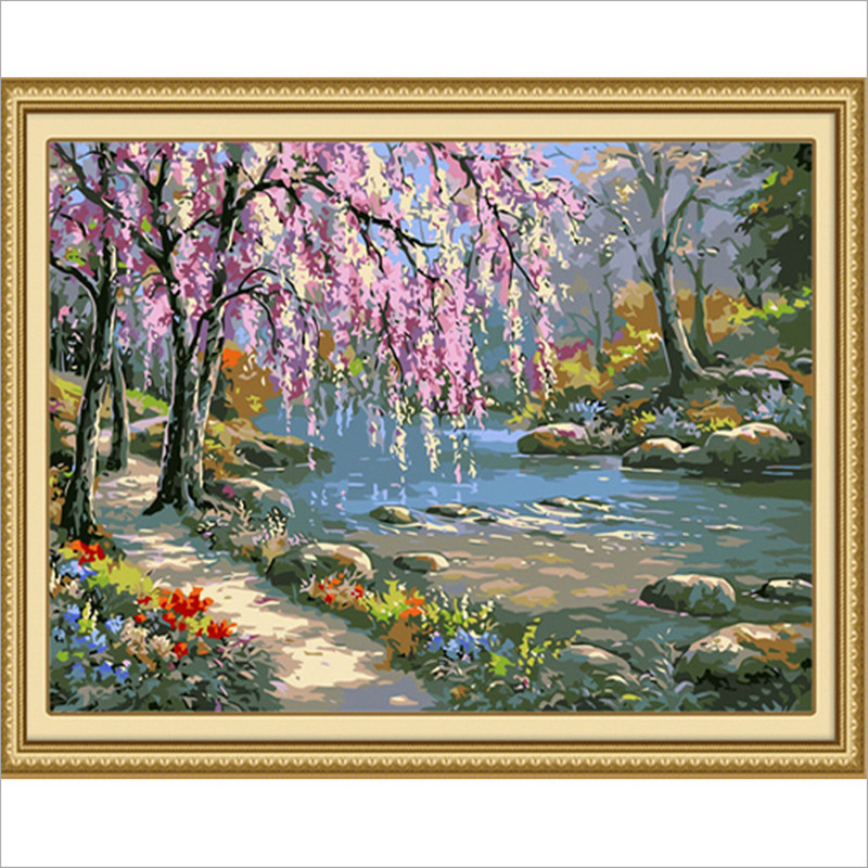 oil painting by numbers for cherry tree pictures diy digital painting home decor river wall art in the room 40X50cm PT006(China (Mainland))