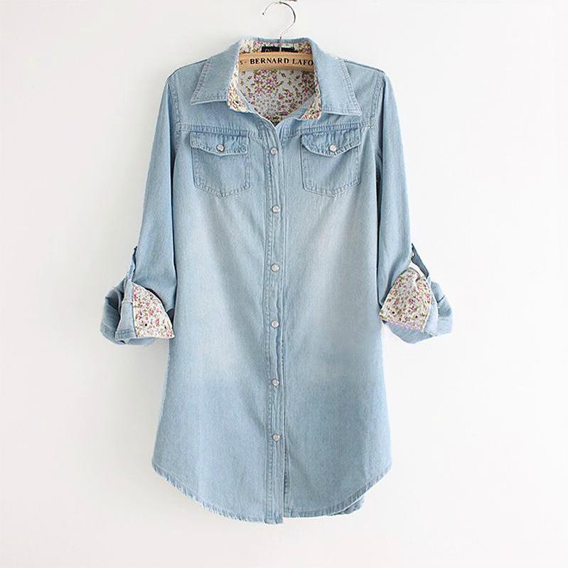Plus size denim shirt blouse top jeans floral print long for Jeans shirt for ladies online