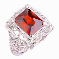 Novo grátis frete moda elegante Popular Twinkling red garnet 925 anel de prata tamanho 6 7 8 9 10 11 jóias para atacado unisex