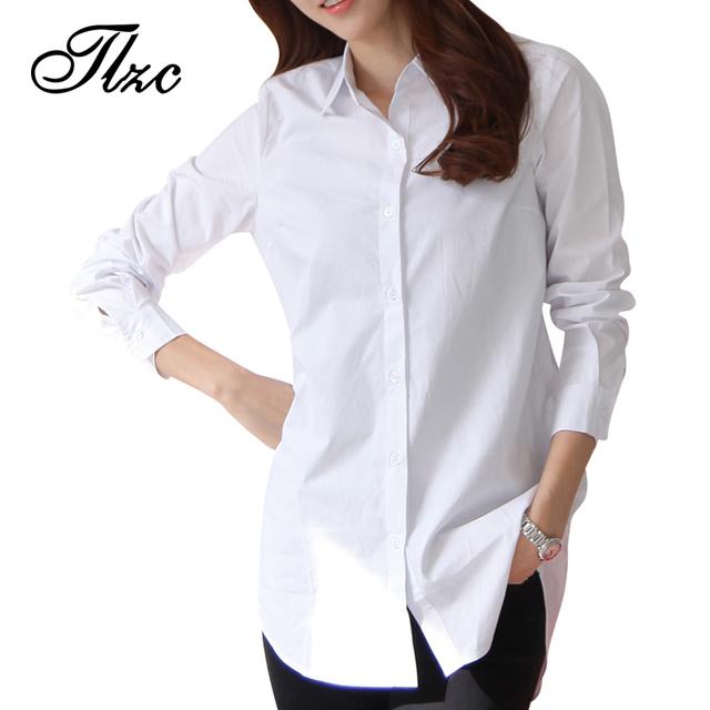 Осень весна женщины длинные белые рубашки размер S-2XL all-матч высокое качество ...