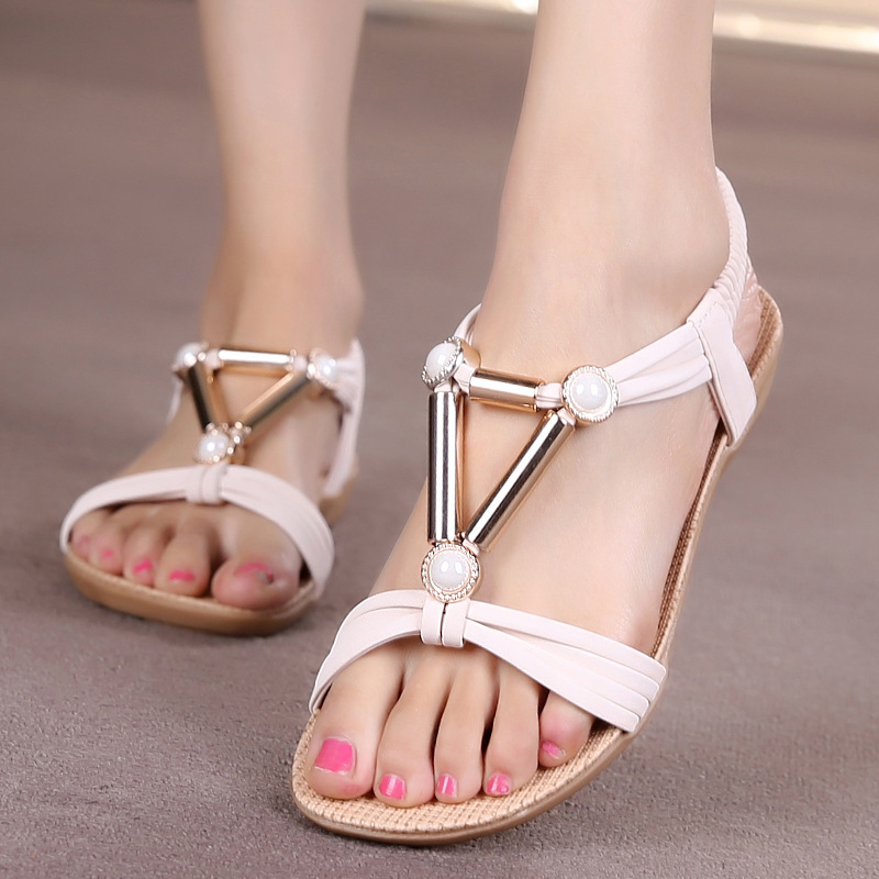 Women Shoes Women Sandals Bohemia Style Ankle-strap Flip Flops Summer Flat Shoes Woman Ladies Shoes Sandalias Mujer(China (Mainland))