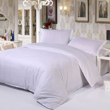 hotel hospital gasthaus bedcover 100% cotton solid color 40S satin weave comforter bedding set Twin/Queen/King size fitted sheet(China (Mainland))