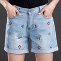 2016 new large size women summer code denim shorts female fat MM slim hole leisure trousers