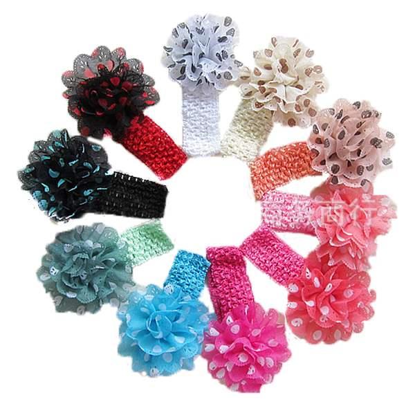 1Set/10pcs Free Shipping Baby Kids Flower Hairbands,Girls Rubber Headband Polka Dot Flower,Infant Knitting Hair Accessiries(China (Mainland))