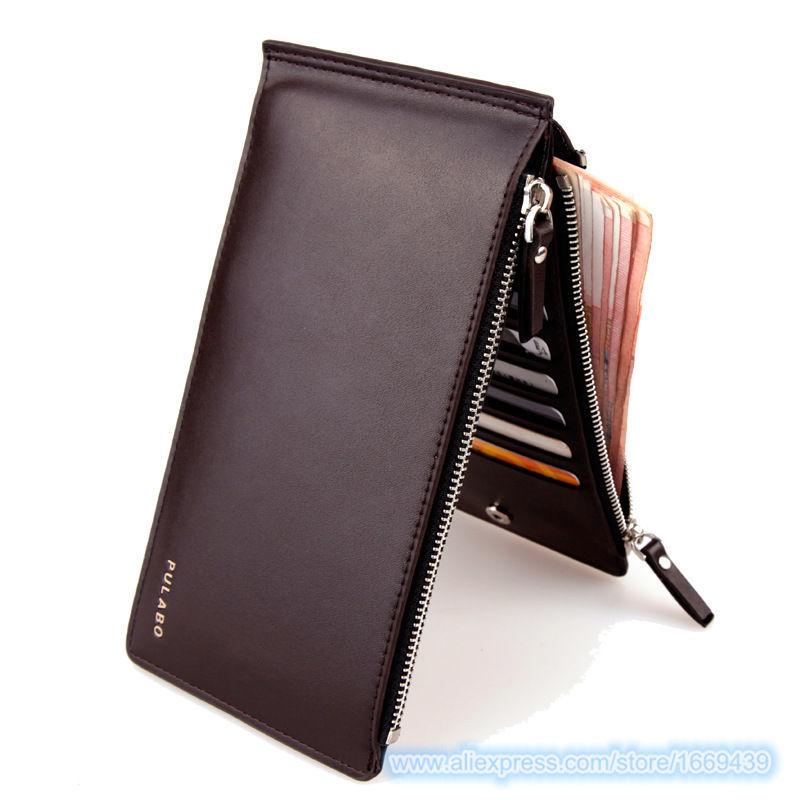Genuine Leather Money Clip Portfolio Male Double Zipper Wallet 2015 Clamp Money Purse Bags Clutch for Men Porte Monnaie Pocket(China (Mainland))