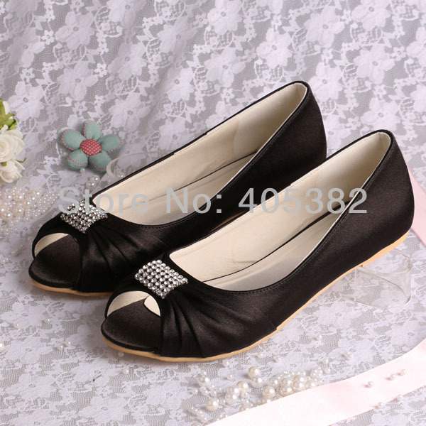 Custom To Make New Arrival Discount Peep Toe Flat Black Bridal Shoes Wedding For Women Dropship